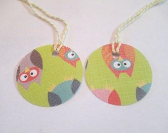 10 Handmade Round Owl Gift Hang Tags