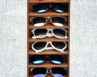 12ct Sunglasses Skinny Display Case Storage Holder Organizer Shelf Glasses Rack - HANDMADE In Texas (FREE Shipping to U.S.A)