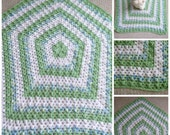 Pretty Boy's Baby Blanket in Green, Blue & White