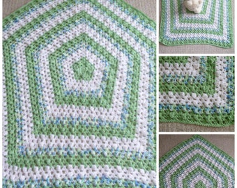 Crocheted Baby Blanket, Pretty Boy's Baby Blanket in Green, Blue & White, Baby Shower Gift