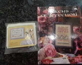 Hardcover cross stitch book and wedding cross stitch kit