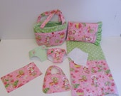 Bitty Baby Basics in Strawberry Shortcake - Diaper Bag and Diapers with Blanket and Pillow