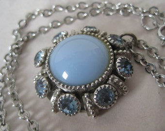 Flower Blue Silver Necklace Rhinestone Vintage Pendant