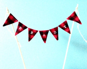 Lumberjack mini fabric bunting ~cake topper ~buffalo plaid ~woodland birthday ~skewers included