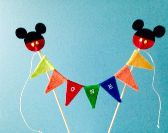 Cake topper ~mickey clubhouse mini flag banner ~birthday banner ~cake smash ~wooden skewers included