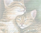 Digital Printable Journal Page Stationary 8x10 Download Scrapbooking Paper Cat 603 kitten Template art painting Lucie Dumas