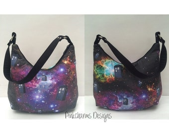 Doctor Who hobo galaxy, Tardis,  zippered hobo bag, one zipper pocket, short strap, shoulder, sling, purse, tote,m, whovian, comic con