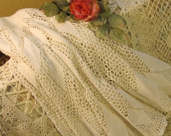 """Crocheted Round Tablecloth, Like a BIG Doily 46"""" Across"""