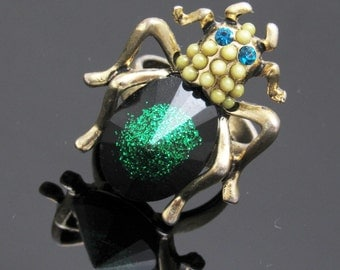 Vintage Beetle Bug Ring Beetle Fly Insect Jewelry Halloween Ring R7461