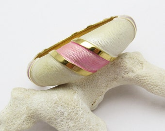 Hinged Bangle Bracelet Pink White Vintage Jewelry B7274