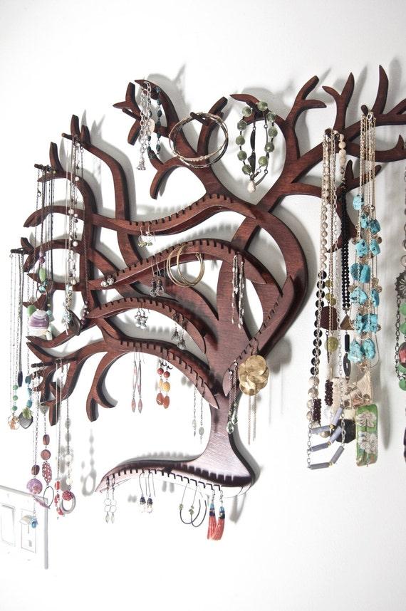Semi-Customizable Sweeping Tree Wall Mounted Jewelry Display