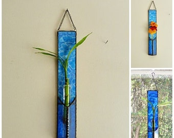 Stained Glass, Bamboo Plant, Wall Panel, Blue on Blue, Flower Vase