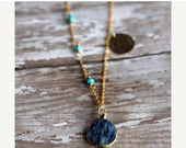 Lapis Lazuli Druzy Blue Pendant, Turquoise Layering Necklace, Wire Wrapped, Gold Brass, Asymmetric, Hand Stamped Boho Feather, Navajo Motif