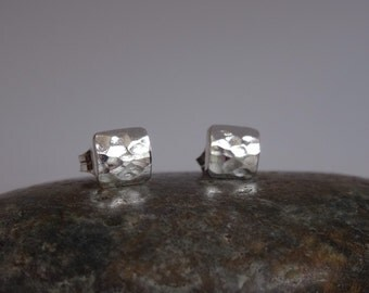 Little puffy square studs. Sterling silver studs. 6mm stud earrings