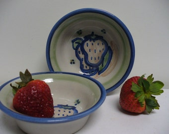 M.A. Hadley - Pair of Strawberry Little Bowls