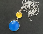 Yellow blue chalcedony pendant - 925 sterling silver pendant chain - OOAK jewelry