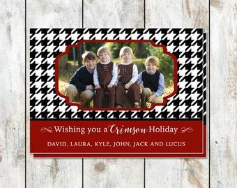 Crimson Holiday Photo Card - Houndstooth Photo Christmas Card - Printable Christmas Card