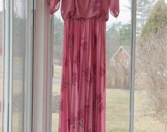 Vintage Gown -  Rose Floral Pleated 70s 80s NWT's