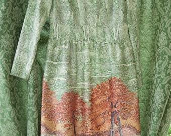 Vintage Dress - Amazing Mod Scenic Trees Mosaic