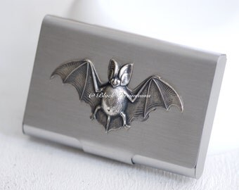 Fat Bellied Bat Stainless Steel Business Card Case - Antique Sterling Silver Brass Bat Auspicious Feng Shui Good Fortune Symbol