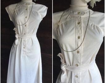 Cute 1970s Cream Tunic Day Dress with Sash - 70s Shirtdress