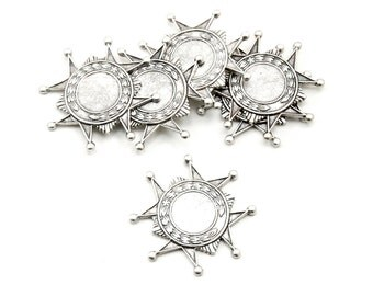 6 Pieces of Steampunk Military Medallion Crest Settings in Antiqued Silver Plated over Brass - 10mm