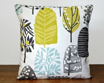 woodland trees decorative pillow cover 18 inch / 45 cm, light blue, charcoal grey, beige, chartreuse trees cushion cover