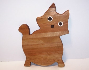 Fat Cat Cutting Board Handcrafted from Mixed Hardwoods