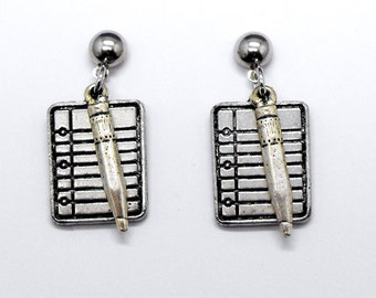 School Notebook Pencil Earrings Student Teacher Themed Jewelry