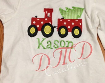 Christmas Tractor with Tree Applique Shirt