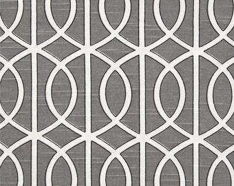 Dwell Studio Bella Porte Slub Charcoal Throw Pillow Cover in Gray and White