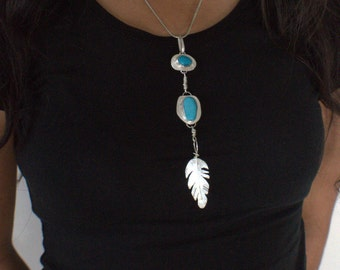 Rustic silver necklace Blue turquoise blue howlite crystal feather long artisan handmade jewelry OOAK
