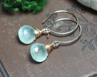 Green Prehnite Earrings Light Green Gemstone Earrings Wire Wrapped Gold Earrings Rustic Jewelry