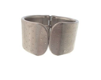 Vintage Cuff, Wide Textured Bracelet, 1950 Silvertone Statement Bangle, Vintage Jewellery
