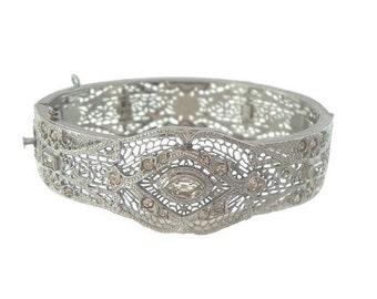 Art Deco Filigree Bangle, Designer JJ White Helegen Line, 1920s Fine Antique Designer Art Deco Cuff, Antique Bridal Jewelry