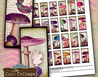 Mushrooms Digital Collage Sheet 1x2 Domino Images for Game Tiles, Wood Pendants, Art Blocks, Bezel Settings - Printable Images