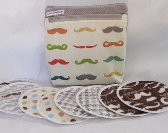 WET/DRY Wet bag ,Mustache, Nursing pad pouch, breast  pad accessories, cotton print,pul,and/or 4 pairs nursing breast pads