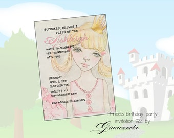 Custom Princess birthday invitation little girl party birthday invitation personalized note cards