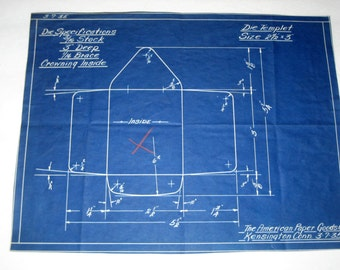 Vintage (1935) Blueprint for Industrial Die for Envelopes
