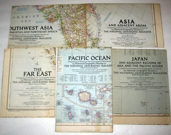 5 Vintage (1944, 1951, 1952) National Geographic Maps - Southwest Asia, The Far East, Asia, Japan, and the Pacific Ocean