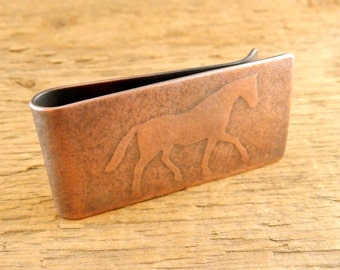 Horse money clip, engraved money clip, gifts for her, gifts for him, equestrian gifts.