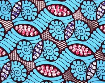 African Fabric 1/2 Yard Wax Print Cotton BLUE PINK BURGUNDY Purple Abstract