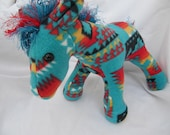 Navajo blanket horse, turquoise fire, pendleton inspired, stuffed animal, plushie, stuffed horse, pendleton blanket, Native Indian