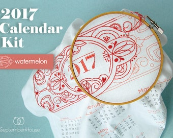 2017 Calendar embroidery kit with matching floss and instructions WATERMELON, DIY Fabric Calendar Panel make your own 2017 calendar