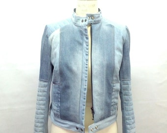Distress jean jacket light wash
