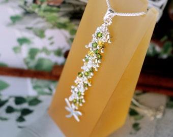 Dragon fly / Linear impressive sparkle sterling Silver Necklace