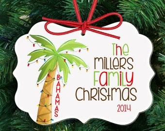Personalized family Christmas ornament - family reunion destination ornament FRCO