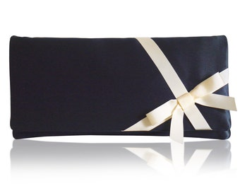 Navy and ivory bow Delphine clutch purse