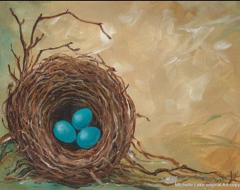 Nest Egg Painting  Three in a Nest