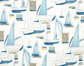 "Boys Bedroom Drapes, Nautical Window Curtains, Sailboat Curtain Panels, Nautical Home Decor, Blue Tan, Rod-Pocket 50""W, One Pair"